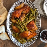 Green beans baked with chicken and potatoes (Φασολάκια στο φούρνο με κοτόπουλο και πατάτες)