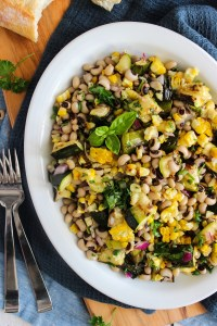 Grilled zucchini salad with corn and black-eyed peas
