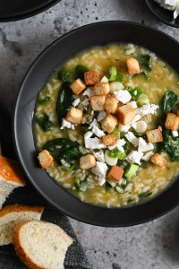 Spinach and rice soup