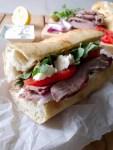 A delicious Greek lamb sandwich full of Mediterranean flavours