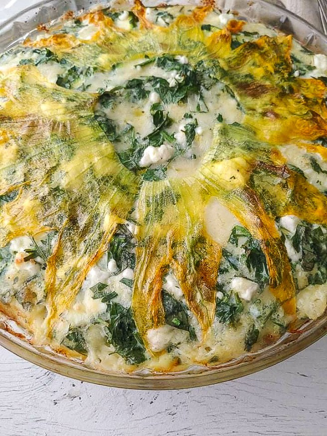 An easy baked zucchini and potato frittata loaded with fresh herbs and cheese