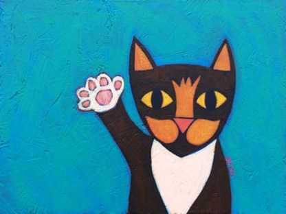 Mia Meow painting Cat character from Children's book waving