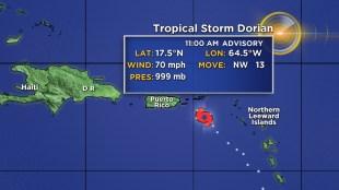 tropical storm dorian expected