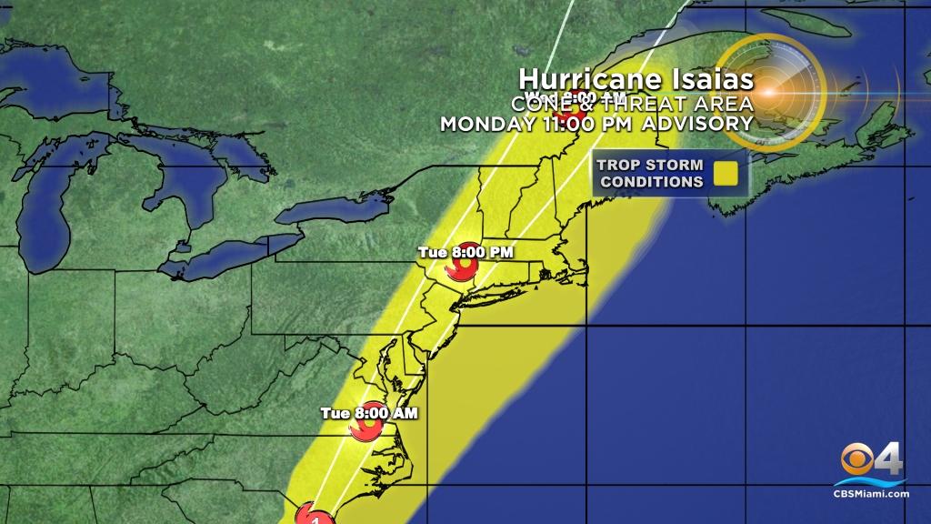 Tracking Isaias Eye Of Hurricane Isaias Makes Landfall In
