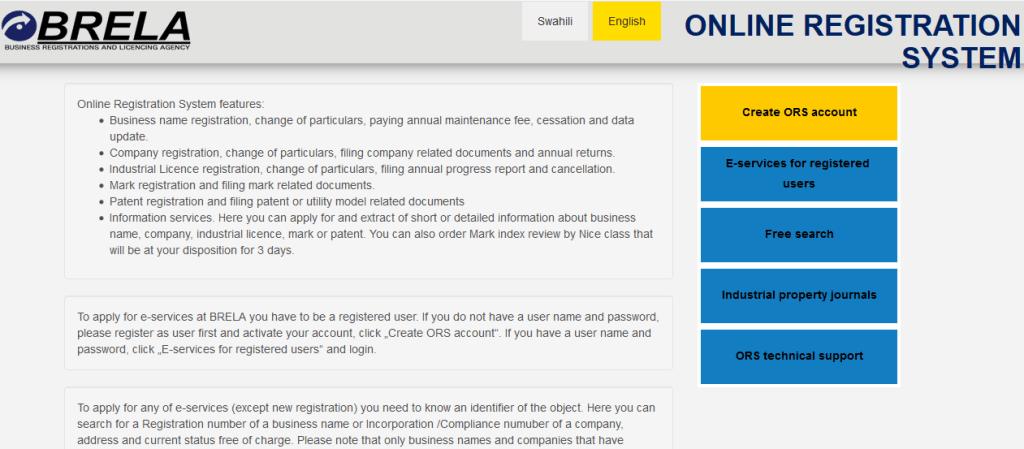 BRELA Online Registration System (ORS) - Register business