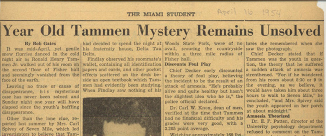 Miami Student article clipping on the disappearance of Ron Tammen