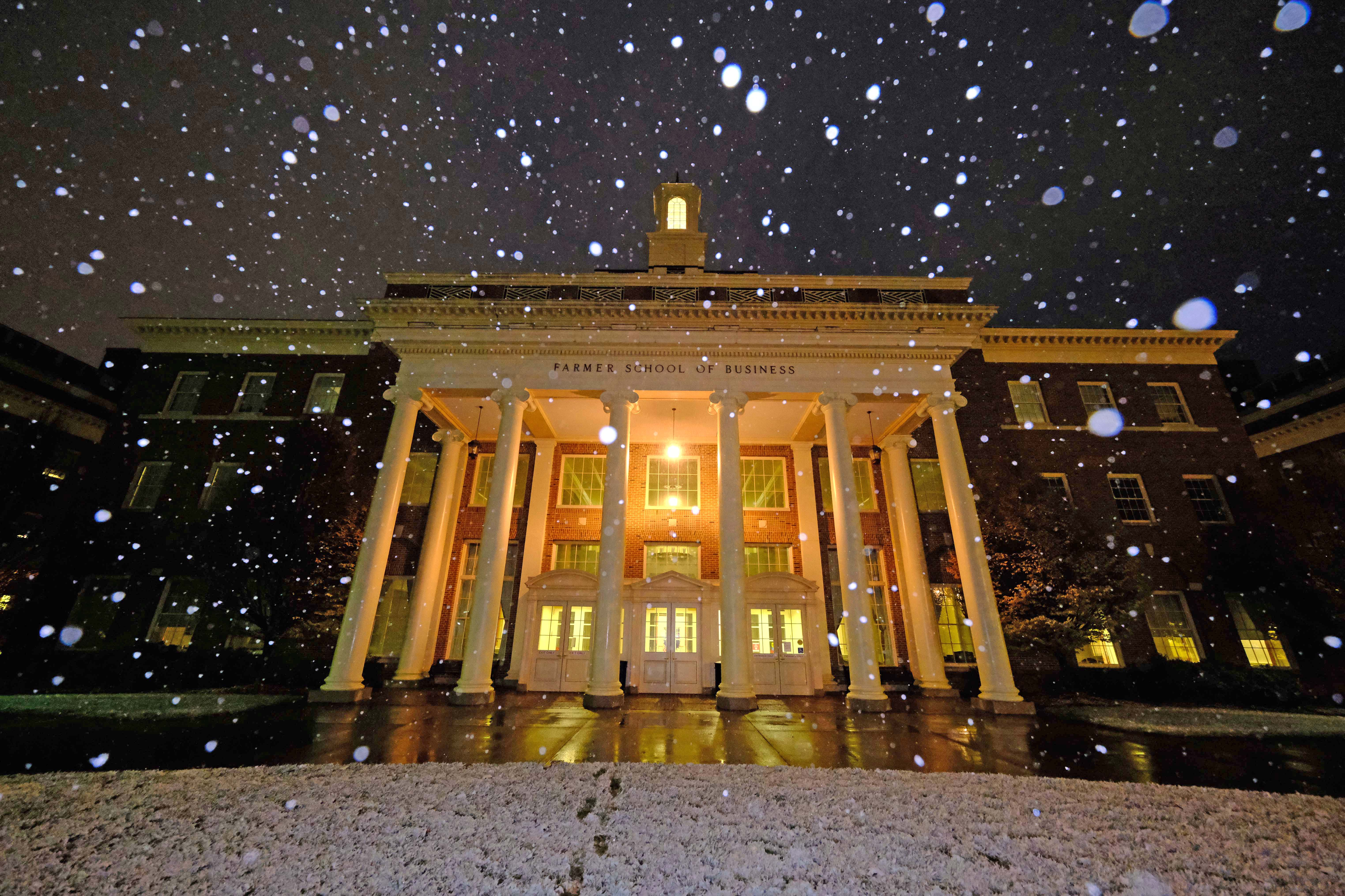 Miami's campuses - Farmer building in a snow shower