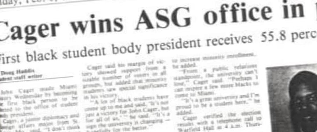 The Miami Student article. First black student body president, John Cager