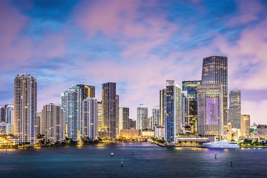 Brickell Key Miami Skyline