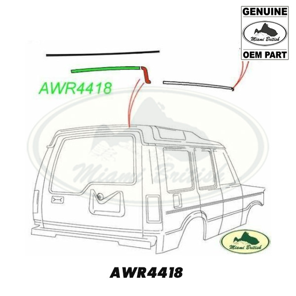 LAND ROVER ROOF REAR RAIN GUTTER CENTER FINISHER DISCOVERY