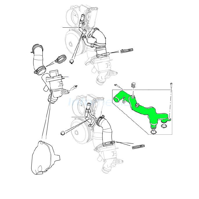 LAND ROVER WATER PUMP OUTLET 5.0L V8 LR4 RR CLASIC RR