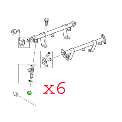 LAND ROVER FUEL INJECTOR AND PIPES ADAPTOR SET x6 1024446