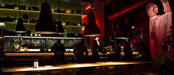 A nice big bar, with excellent cocktails, at the Wynwood Diner