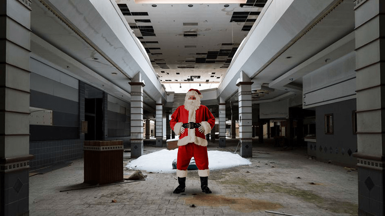 Lonely Santa Emerges From Remnants of Piqua Mall