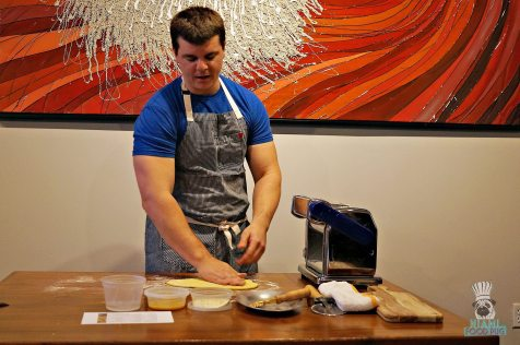 Proof Pizza and Pasta - Pasta Making Class - Chef/Owner Justin Flit Smoothing the Dough