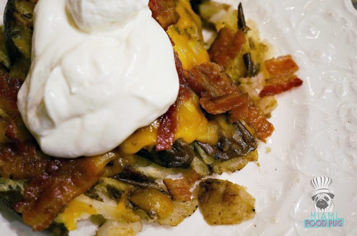 Cream Parlor - Grilled Smashed Potato with Bacon, Sour Cream and Cheddar Cheese