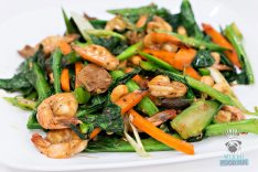 Wok Star - Stir Fried Chinese Broccoli, Shrimp, Oyster Mushrooms, Carrotsm Scallion, and Cashews