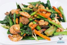 Wok Star - Stir Fried Chinese Broccoli, Shrimp, Oyster Mushrooms, Carrotsm Scallion, and Cashews
