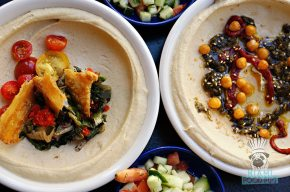 Dizengoff - SOBEWFF Chef Takeover - Grilled Escarole and Fermented Broccoli Rabe Hummus
