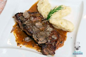 Salumeria 104 - Black Truffle Festival - NY Steak with Truffle Mushroom Demi Glaze, Fresh Truffles, and Mashed Potatoes