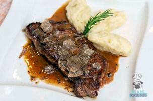 Salumeria 104 - Black Truffle Festival - NY Steak with Truffle Mushroom Demi Glaze, Fresh Truffles, and Mashed Potatoes