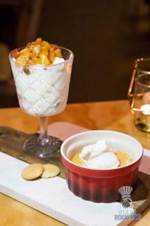 Silverlake Bistro - Peach Cheesecake Parfait and Butterscoth Pot de Creme