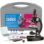 AMSCOPE-KIDS M30-ABS-KT1 Beginner Microscope Kit, LED and Mirror Illumination, 120x – 1200x Six