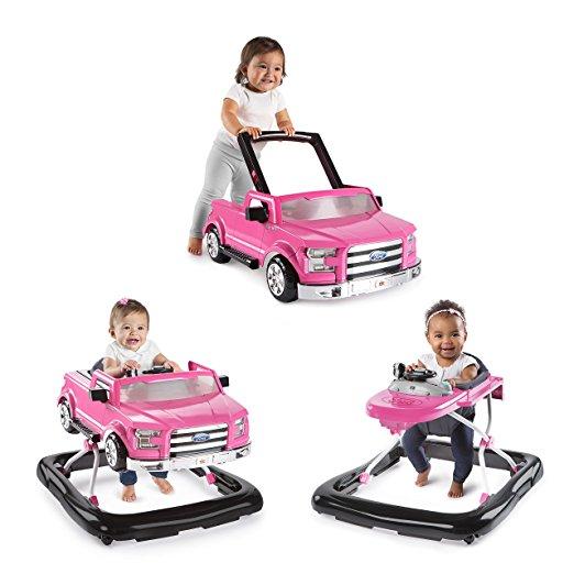 Andador 3 em 1 Ford-150 Bright Starts 3 Ways to Play Adjustable Portable Rosa