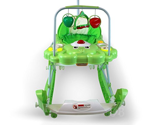 Best Safety 3 in 1 Walker, Rocker, Parent push handle, and emergency stair stopper (Bear) (Green) 3
