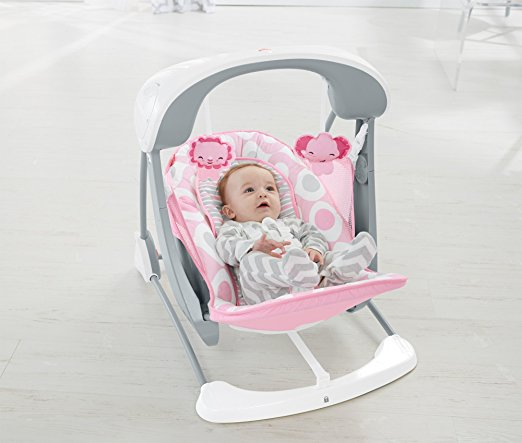 Cadeirinha de balanço Fisher-Price Deluxe Take Along Swing and Seat, Pink White 4