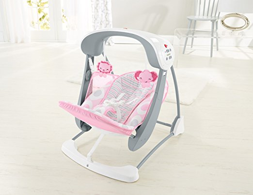 Cadeirinha de balanço Fisher-Price Deluxe Take Along Swing and Seat, Pink White 5