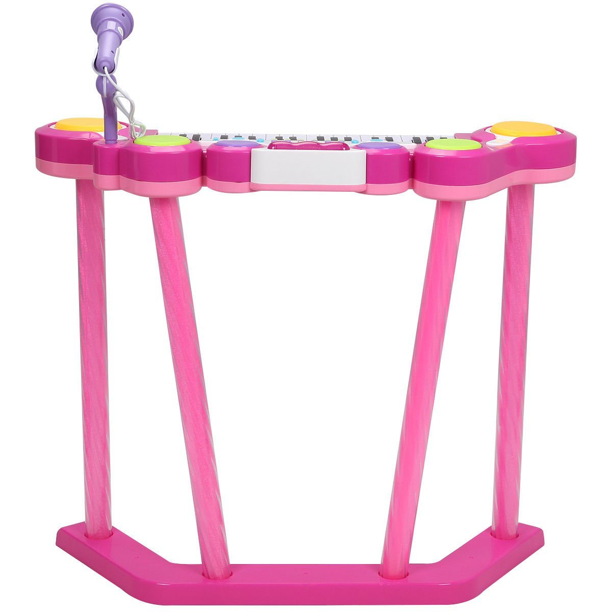 Costzon 2 In 1 Electronic Keyboard and Drum Musical 37-Key Toy Electronic Organ Piano and Drum with Microphone and Flashing Legs (Pink)5