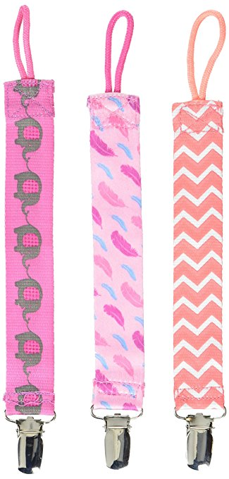Dr. Brown's 3 Piece Pacifier Clips, Pink