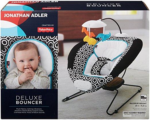 Fisher-Price Jonathan Adler Deluxe Bouncer, Black White 5