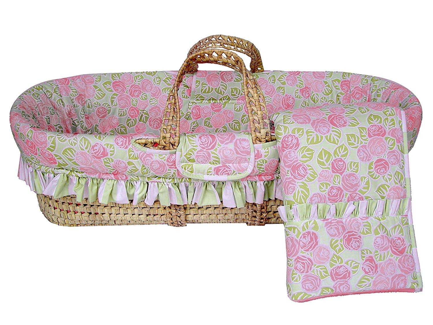 Moises Bacati Flower Moses Basket, Pink/Green