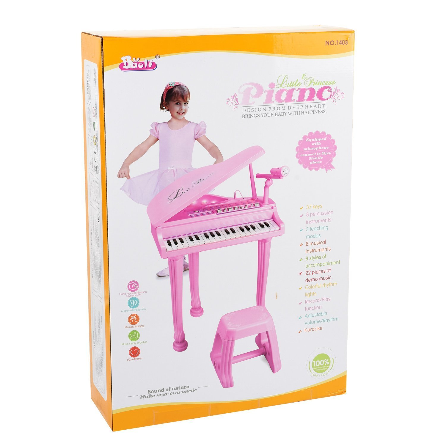 Piano Princesa educacional 37 keys com Banco e Microfone Celular MP3