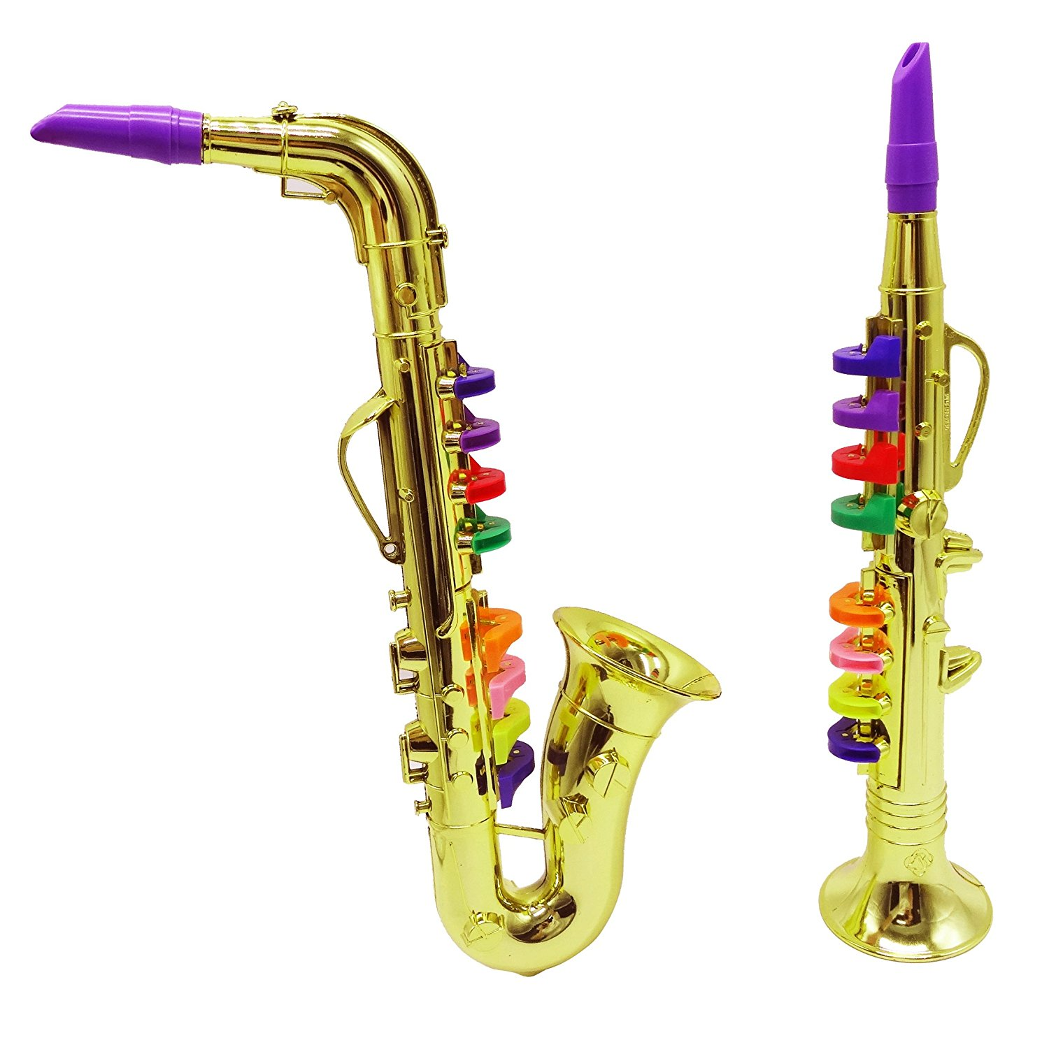 Set of 2 Music Instruments, Saxophone and Clarinet. Combo with over 10 Color Coded Teaching Songs included2