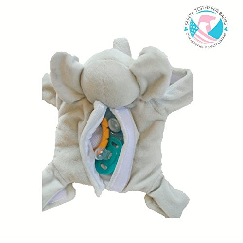 Snuggin – The Comforting Day and Night Lovey Miracle for Babies (Gray Elephant) – Plush Stuffed Animal Pacifier and Teether Holder 2