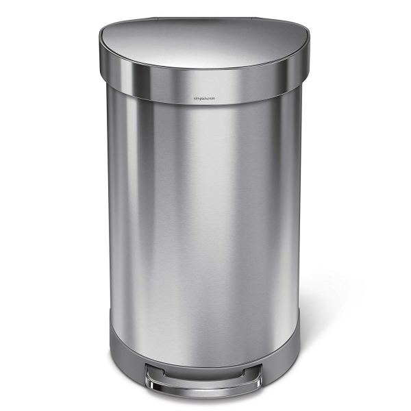 12 Gallon Stainless Steel Semi-Round Kitchen Step Trash Can with Liner Rim, Brushed Stainless Steel2
