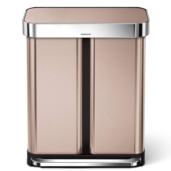 15,3 Galão De Aço Inoxidável Dupla Compartimento Retangular Cozinha Passo Lata de Lixo Reciclador com Forro de Bolso, Rose Gold2