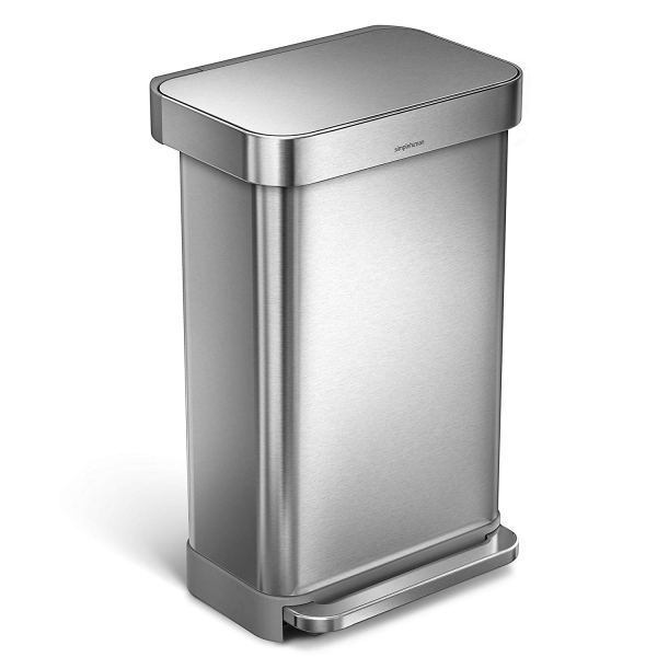 2 Gallon Stainless Steel Rectangular Kitchen Step Trash Can with Liner Pocket, Brushed Stainless Steel2