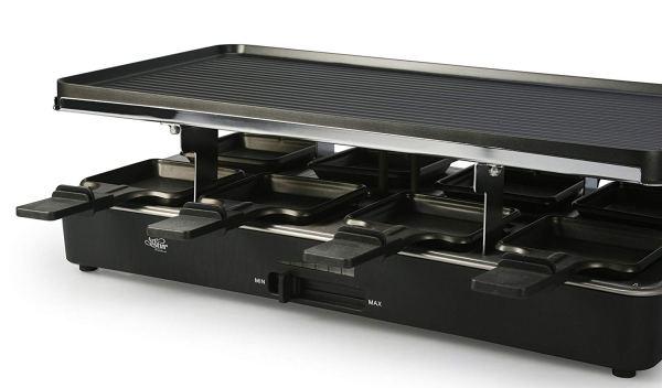 Artestia Raclette Grill elétrico com duas placas de topo de tamanho completo 4