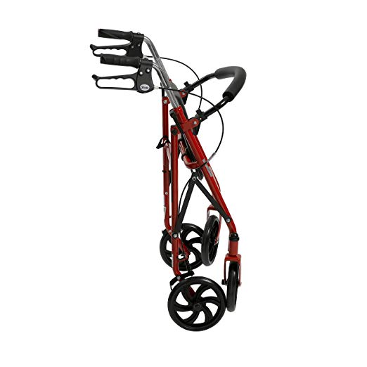 Drive Medical Four Wheel Rollator with Fold Up Removable Back Support, Red 3