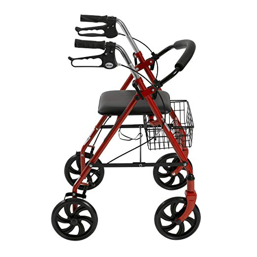 Drive Medical Four Wheel Rollator with Fold Up Removable Back Support, Red 6
