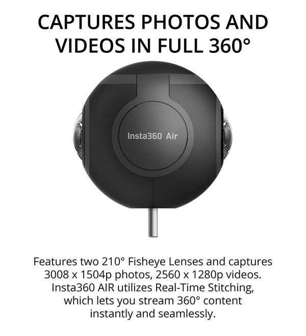 Insta360 Air Camera for Android Smartphone and Laptop -INCLUDES- ZEISS VR ONE Plus Virtual Reality Headset, Blucoil Micro USB Adapter AND 5 Pack of Cable Ties3