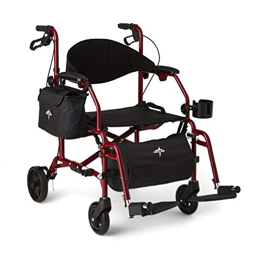 Medline Red Combination Rollator and Transport Chair, Desk-Length Arms, Swing Away Footrests, Red Frame5