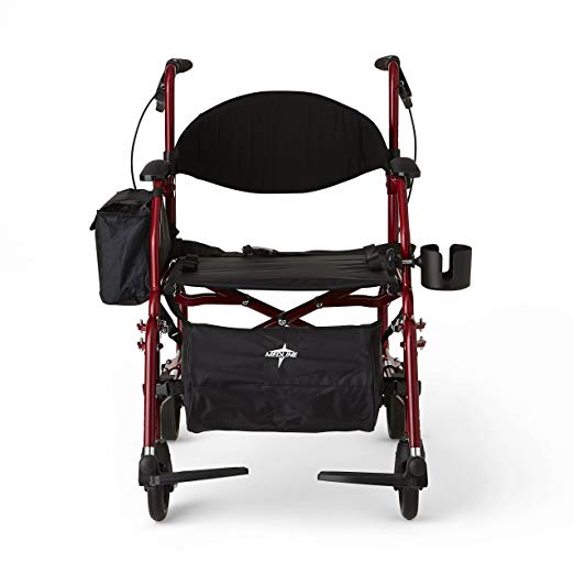 Medline Red Combination Rollator and Transport Chair, Desk-Length Arms, Swing Away Footrests, Red Frame6
