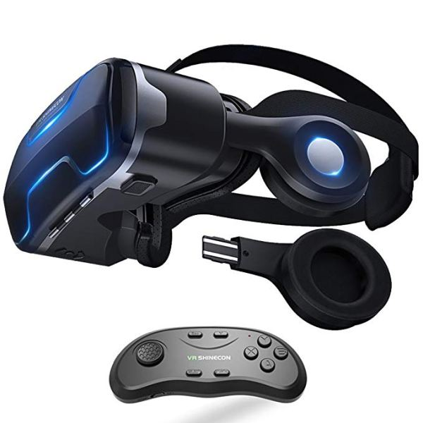 VR Headset with Remote Controller Stereo Headphones for