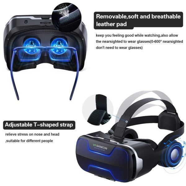 VR Headset with Remote Controller Stereo Headphones for4