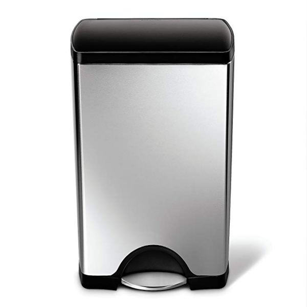 simplehuman Rectangular Step Trash Can, Brushed Stainless Steel, 38 Liters